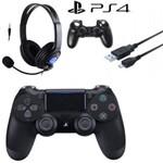 Controle Sem Fio - Dualshock 4 Preto - Ps4 com Headset + Cabo + Capa Silicone
