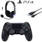 Controle Sem Fio - Dualshock 4 Preto - Ps4 com Headset e Carregador