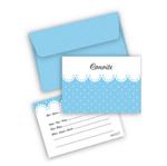 Convite Azul Poá Branco C/ Envelope - 08 Unidades