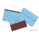 Convite Azul Poá Marrom C/ Envelope - 8 Unidades