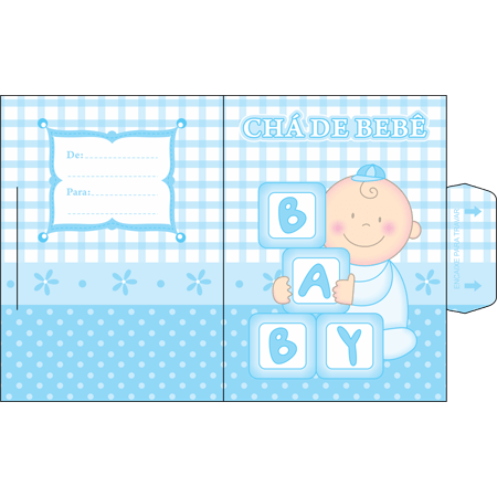 Convite Chá de Bebê Blocos Azul