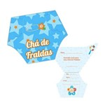 Convite Chá de Fralda Duster Azul C/ 08 Unidades