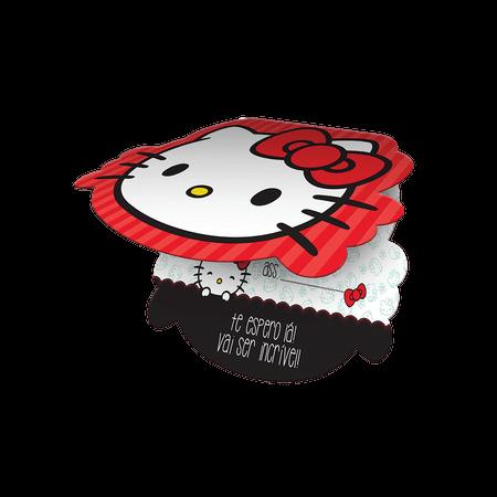 Convite de Aniversário Hello Kitty - 08 Unidades - Vermelho