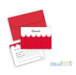 Convite Vermelho Poá Branco C/ Envelope - 8 Unidades