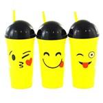 Copo com Tampa e Canudo de Plastico Emoticons Sortidos 700ml