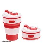 Copo Eco-friendly Silicone Retrátil Vermelho 350ML - 34183