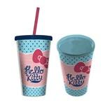 Copo Plástico com Canudo - Hello Kitty