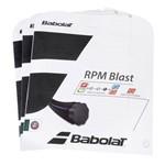 Corda Babolat Rpm Blast 16l 1.30 Preta - Pack com 3 Sets