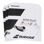 Corda Babolat Rpm Dual 16l 1.30mm Preta - Pack com 3 Sets