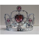 Coroa Prateada C/ Pedras Rosas Tam: U