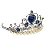 Coroa Princesas Super Luxo Prateado com Pedras e Pérolas