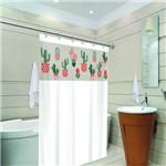 Cortina de Box Banheiro com Visor 1,38 X 1,98 Branco Cactos