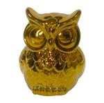 Coruja Decorativa em Cerâmica Dourada Less Grande Urban