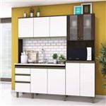Cozinha Compacta 10 Portas 2 Gavetas Jasmine Siena Móveis Café/Branco