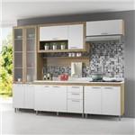 Cozinha Compacta 11 Portas C/ Tampo Br e Vidro 5723 Branco/Argila
