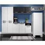 Cozinha Compacta 4 Peças Balcão Suspenso com Tampo Rubi Telasul Branco/Preto