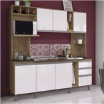 Cozinha Compacta 7 Portas 2 Gavetas Jasmine Siena Móveis Rústico/Branco