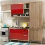Cozinha Compacta 9 Portas com Balcão P/ Pia 5838 Vermelho/Argila