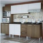 Cozinha Compacta Genialflex Bianca Castanho Fosco/Branco com Tampo