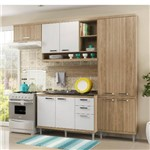 Cozinha Compacta Multimóveis Sicília 9 Portas e 3 Gavetas - Argila/Branco