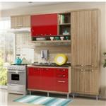 Cozinha Compacta Multimóveis Sicília 9 Portas e 3 Gavetas - Argila/vermelho