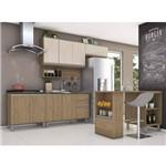 Cozinha Completa Balcão com Tampo para Cooktop e Ilha Gourmet Kely Siena Móveis Rústico/avelã