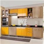 Cozinha Completa com Tampo 15 Portas 5835 Argila/Amarelo - Multimóveis