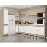 Cozinha Completa Decibal Slim 12 Portas e 3 Gavetas - Acácia/Branco