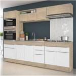 Cozinha Modulada Decibal Slim 11 Portas 3 Gavetas - Acácia/Nature/Branco
