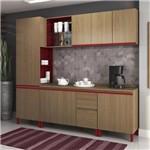 Cozinha Modulada Kappesberg New Urban 02 8 Portas e 3 Gavetas - Nature/Marsala