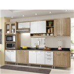 Cozinha Modulada Multimóveis Sicília 15 Portas e 3 Gavetas - Argila/Branco