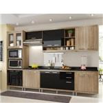Cozinha Modulada Multimóveis Sicília 15 Portas e 3 Gavetas - Argila/Preto Brilho