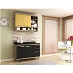 Cozinha New Vitoria 4 Portas 3 Gavetas Avela e Amarelo
