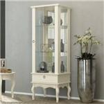 Cristaleira com Espelho 1 Porta de Vidro 1 Gaveta Condessa EDN Móveis Off White