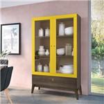 Cristaleira 2 Portas de Vidro C/ Gaveta Retrô Fosco/brilho – Genialflex - Demolição / Amarelo