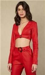 Cropped Faux Leather Detalhe Fivela 36 - RED CARPET