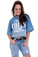 Cropped Jeans Amplo com Estampa BL2882 - M