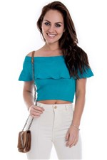 Cropped Ombro a Ombro com Babado BL3234 - Kam Bess
