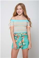 Cropped Tricot Ombro a Ombro Azul - 10