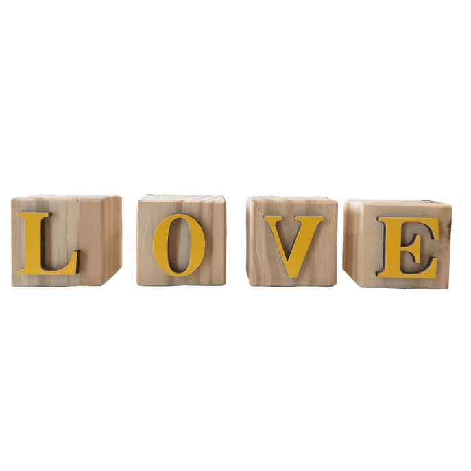Cubo Decorativo Love Amarelo
