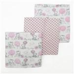 Cueiro Feminino com 3 Unidades Branco e Rosa Estampado Ursa