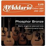 D`addario - Encordoamento Phosphor Bronze 010 para Violão Ej15