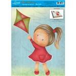 Decoração para Caderno Escolar Mdf Decoupage Menina Dma3-048 - Litoarte