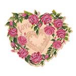 Decoupage Aplique em Papel e Mdf Coração Flores Apm20-023 - Litoarte