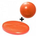 Disco Inflavel Equilibrio + 1 Overball para Pilates 25cm Alaranjanda Liveup