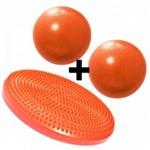 Disco Inflavel Equilibrio + 2 Overball para Pilates 25cm Laranja Liveup