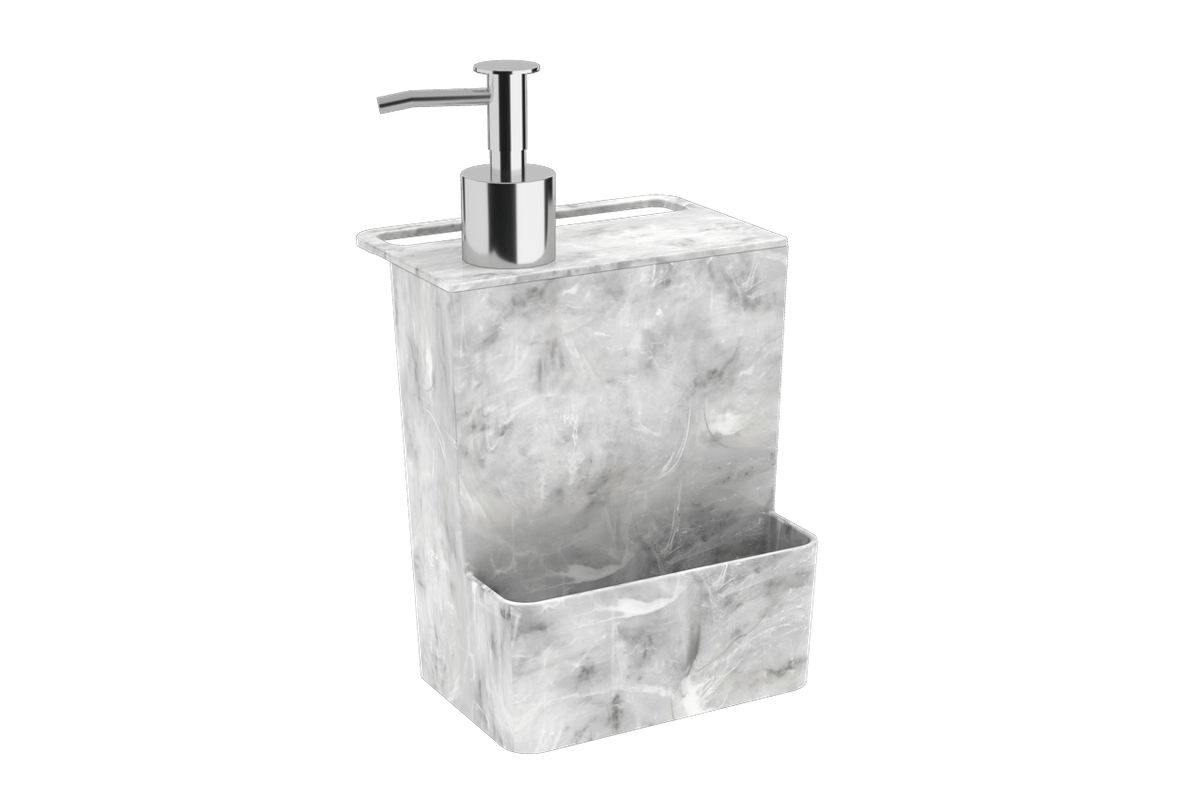 Dispenser Multi Glass 600 Ml 12 X 10,6 X 20,8 Cm Mármore Branco Coza