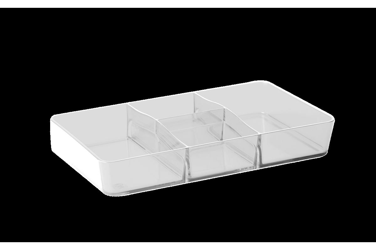 Divisória Retangular - Retrô 26,5 X 16,5 X 4,5 Cm Cristal Coza