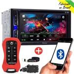 DVD Pioneer Multimídia 2 Din Bluetooth Avh-a208bt + Controle Stetsom Sx2 Vermelho