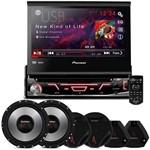 DVD Player Pioneer Avh-3880 1 Din 7 Polegadas + Kit 2 Vias Bomber 6 Polegadas e Tweeters 400w Rms